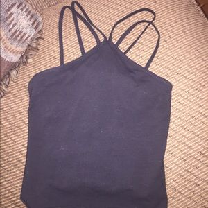 Fitted black crop top. Gently used